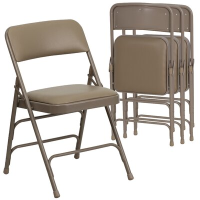 Laduke Curved Vinyl Padded Folding Chair Symple Stuff Color: Beige