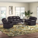 Hartranft 3 Piece Faux Leather Reclining Living Room Set by Red Barrel Studio®