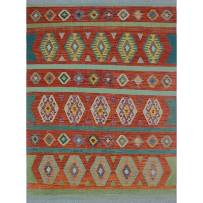 One Of A Kind Rucker Kilim Hand Woven Wool Green Fringe Area Rug Bungalow Rose