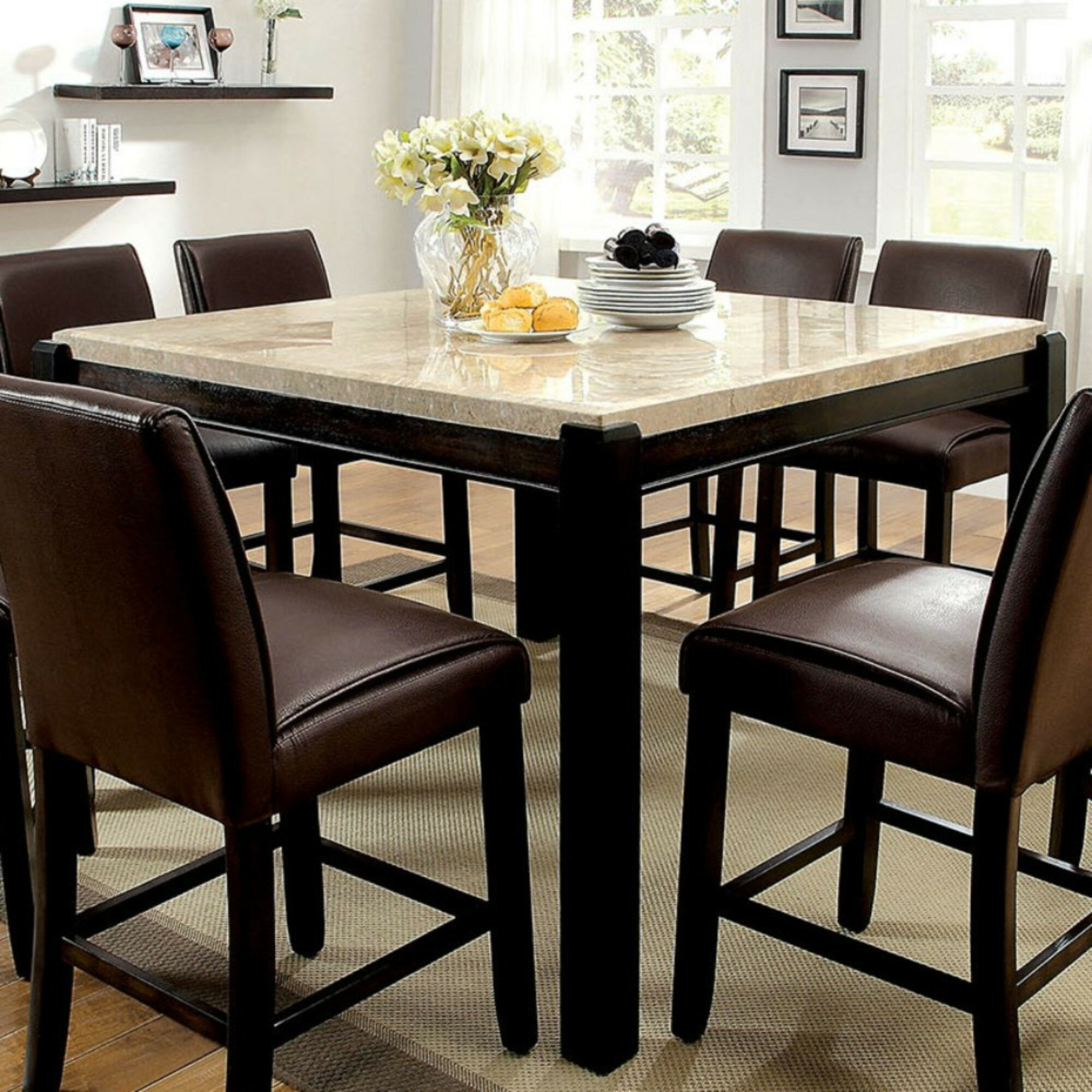 Janeta Counter Height Pedestal Dining Table