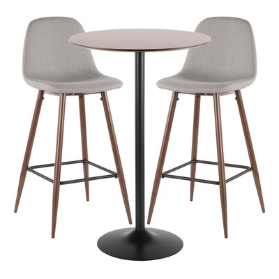 Latitude Run Blaisdell 3 Piece Pub Table Set Color: Gray