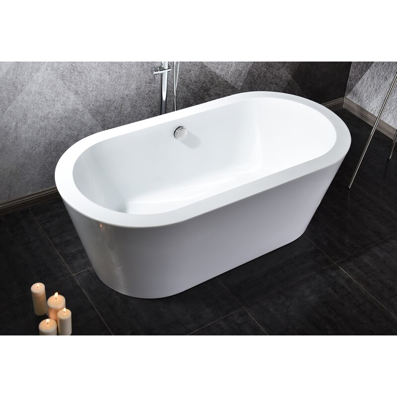 Warehouse Union 55 X 30 Freestanding Soaking Acrylic Bathtub Wayfair