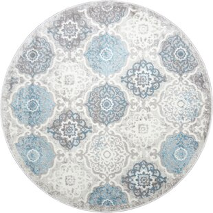 Kallie Quilted Gray/Blue Area Rug by Ophelia & Co.