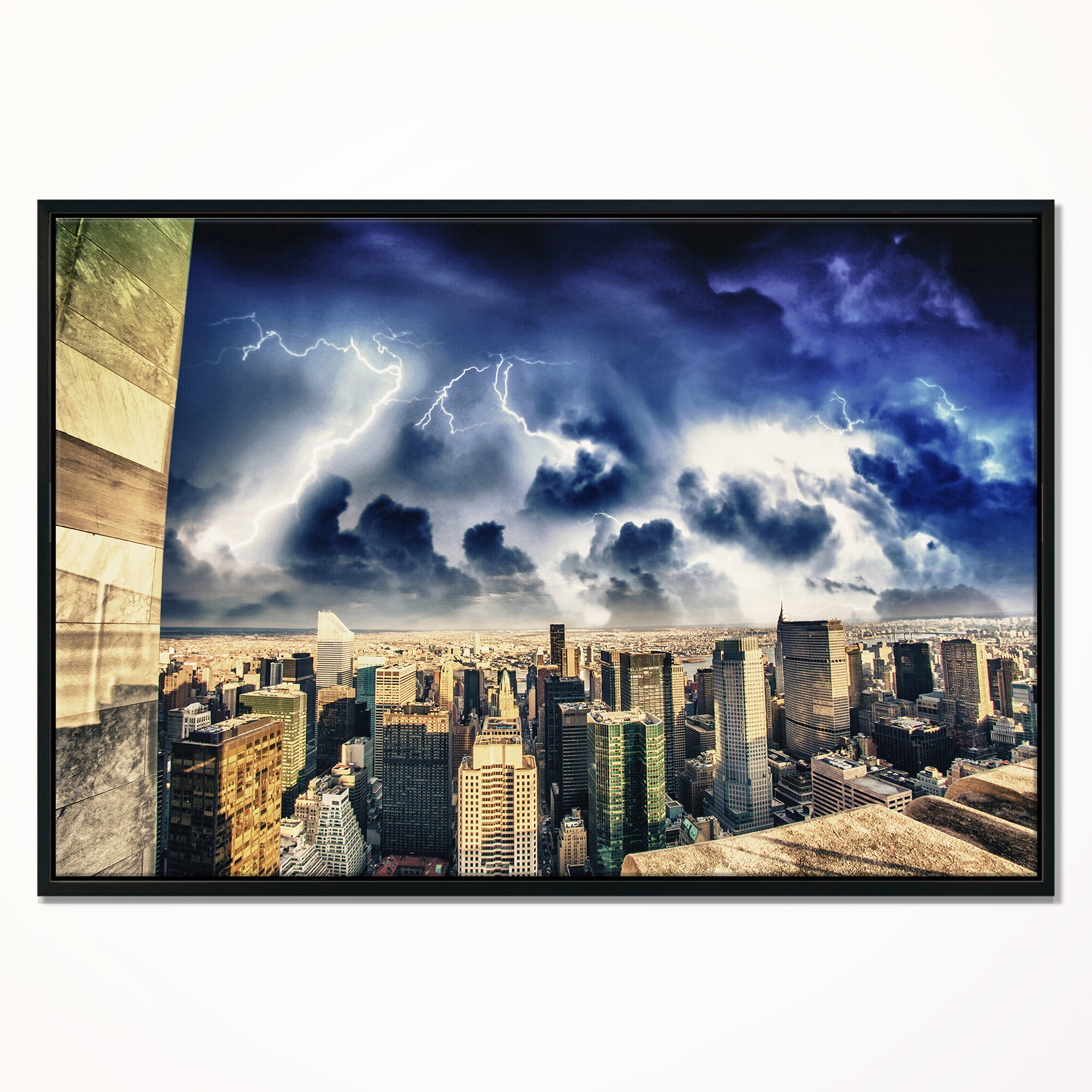 East Urban Home Storm Above Manhattan Skyscrapers Framed Photographic Print On Wrapped Canvas Wayfair