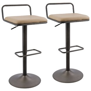 17 Stories Moa Adjustable Height Swivel Bar Stool (Set of 2)