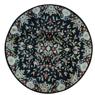 Best Reviews One-of-a-Kind Knecht Botanical Hand-Knotted Black/Beige Area Rug By Bloomsbury Market
