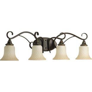 Fleur De Lis Living Terrie 4-Light Glass Shade Vanity Light