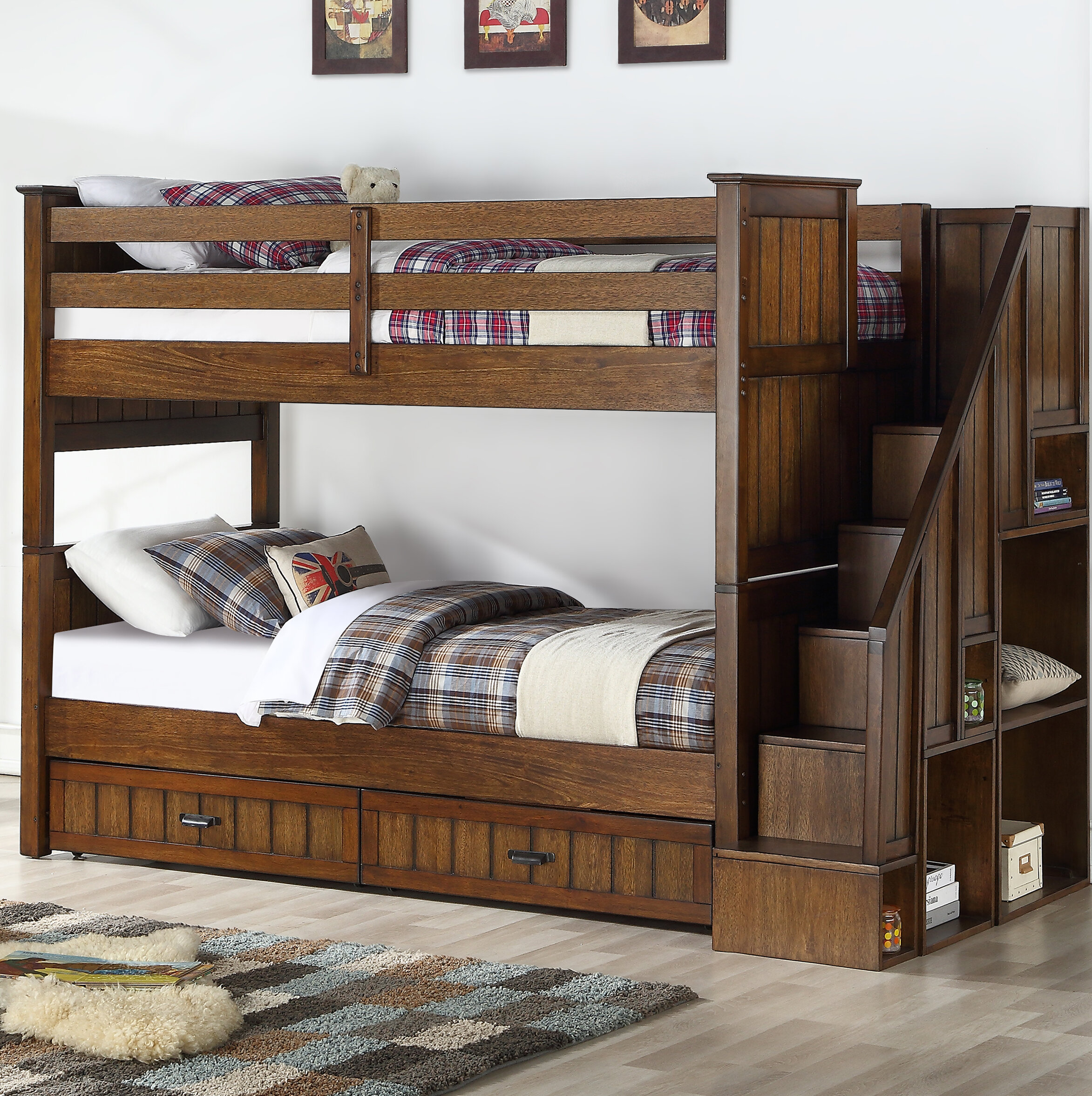 Picture of: Harriet Bee Carothers Convertible Twin Over Twin To Twin Over Full Bunk Bed With Bookcase And 2 Drawers Reviews