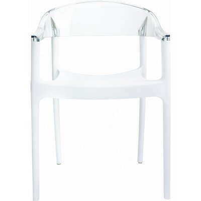 Anner Stacking Patio Dining Chair (Set of 4) Color: White/Transparent Clear by Zipcode Design
