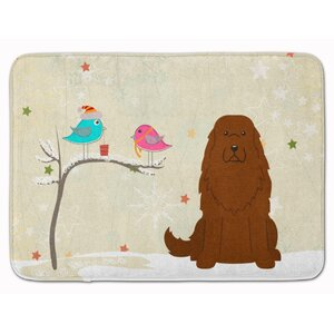 Christmas Caucasian Shepherd Dog Memory Foam Bath Rug