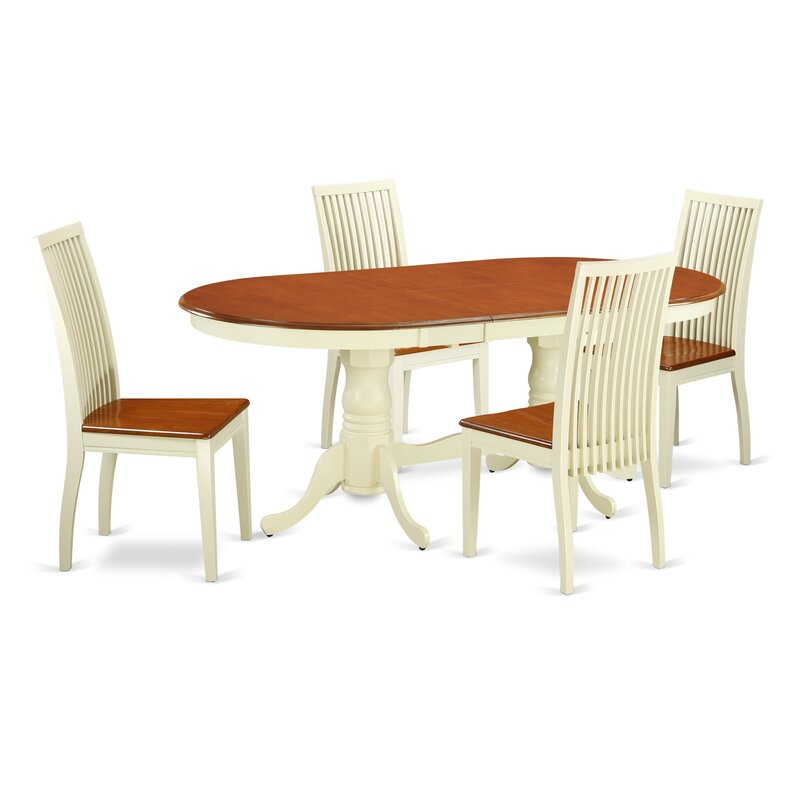 August Grove Pilcher 5 Piece Solid Wood Dining Set Wayfair