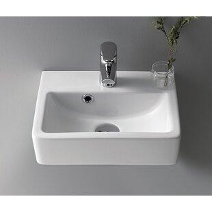 Reviews Mini Ceramic 15 Wall Mount Bathroom Sink with Overflow ByCeraStyle by Nameeks