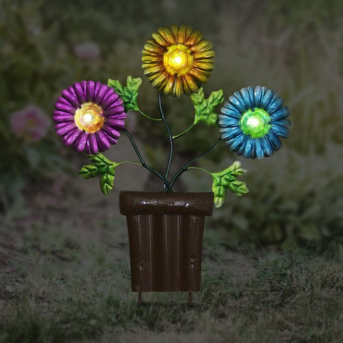 Wayfair & Solar Metal Flowers in Pots Garden Stake
