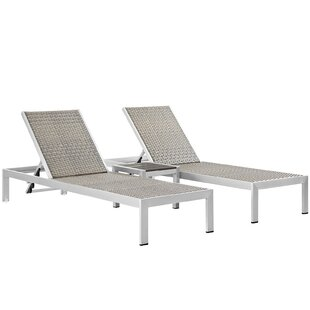 Orren Ellis Coline Outdoor Patio 3 Piece Single Chaise and Table Set
