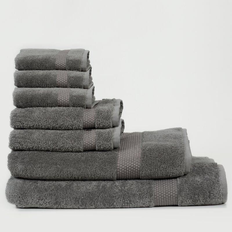 Canora Grey Al 7 Piece Turkish Cotton Bath Towel Set  Color: Slate