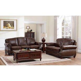 Three Posts Mendenhall Leather 2 Piece Living Room Set