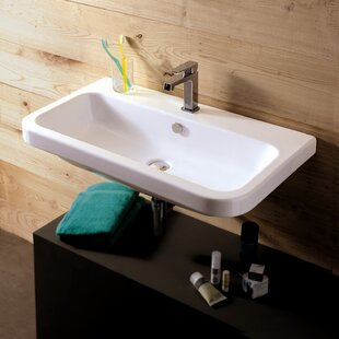 Comparison Electra Ceramic 32 Wall Mount Bathroom Sink with Overflow By Ceramica Tecla by Nameeks