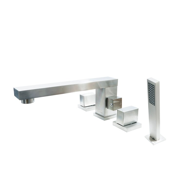 Brook Three Handle Three Handle Roman Tub Faucet With Matching Hand Shower  For Tub And Jacuzzi