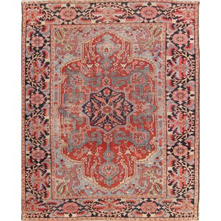 One-of-a-Kind Simonson Heriz Serapi Persian Hand-Knotted 8' 8'' x 11' 9'' Wool Red/Burgundy Area Rug ByIsabelline