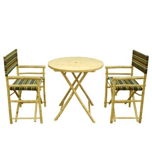 Keyes Bamboo 3 Piece Bistro Set by Bloomsbury Market