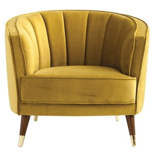 Eubank Velvet Barrel Chair by Everly Quinn