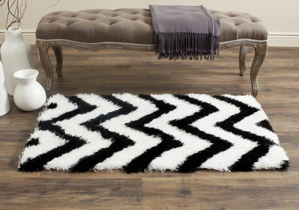 barcelona shag handtufted cotton whiteblack area rug