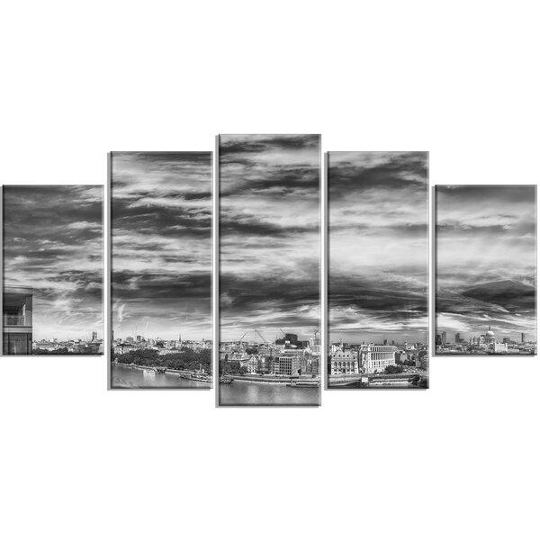 Designart Black And White Panoramic London 5 Piece Photographic Print On Wrapped Canvas Set Wayfair Ca