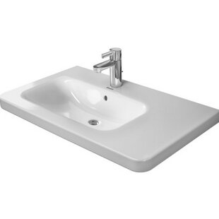 Reviews DuraStyle Ceramic 32 Wall Mount Bathroom Sink with Overflow By Duravit