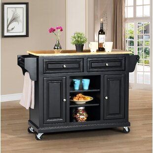 Raynham Kitchen Island with Solid Wood Top Charlton Home