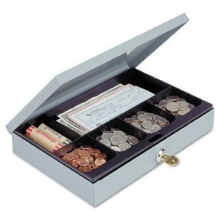 Steelmaster Heavy-Duty Steel Low-Profile Cash Box with 6 Compartments by MMF Industries