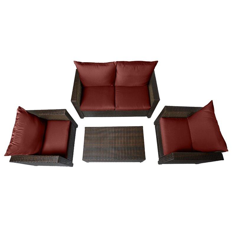 Wayfair Beachcrest Home Belva 4 Piece Rattan Sofa Set With Cushions