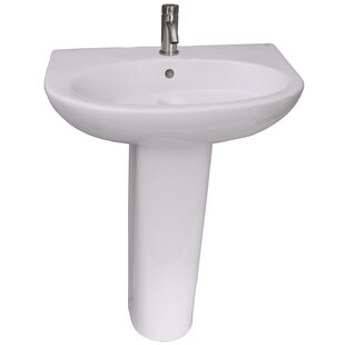 Budget Infinity 600 Vitreous China 24 Pedestal Bathroom Sink with Overflow By Barclay