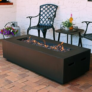 Brayden Studio Huff Concrete Propane Fire Pit Table with Lava Rocks