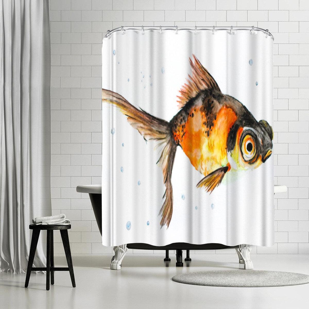 East Urban Home Allison Gray Fancy Goldfish Shower Curtain