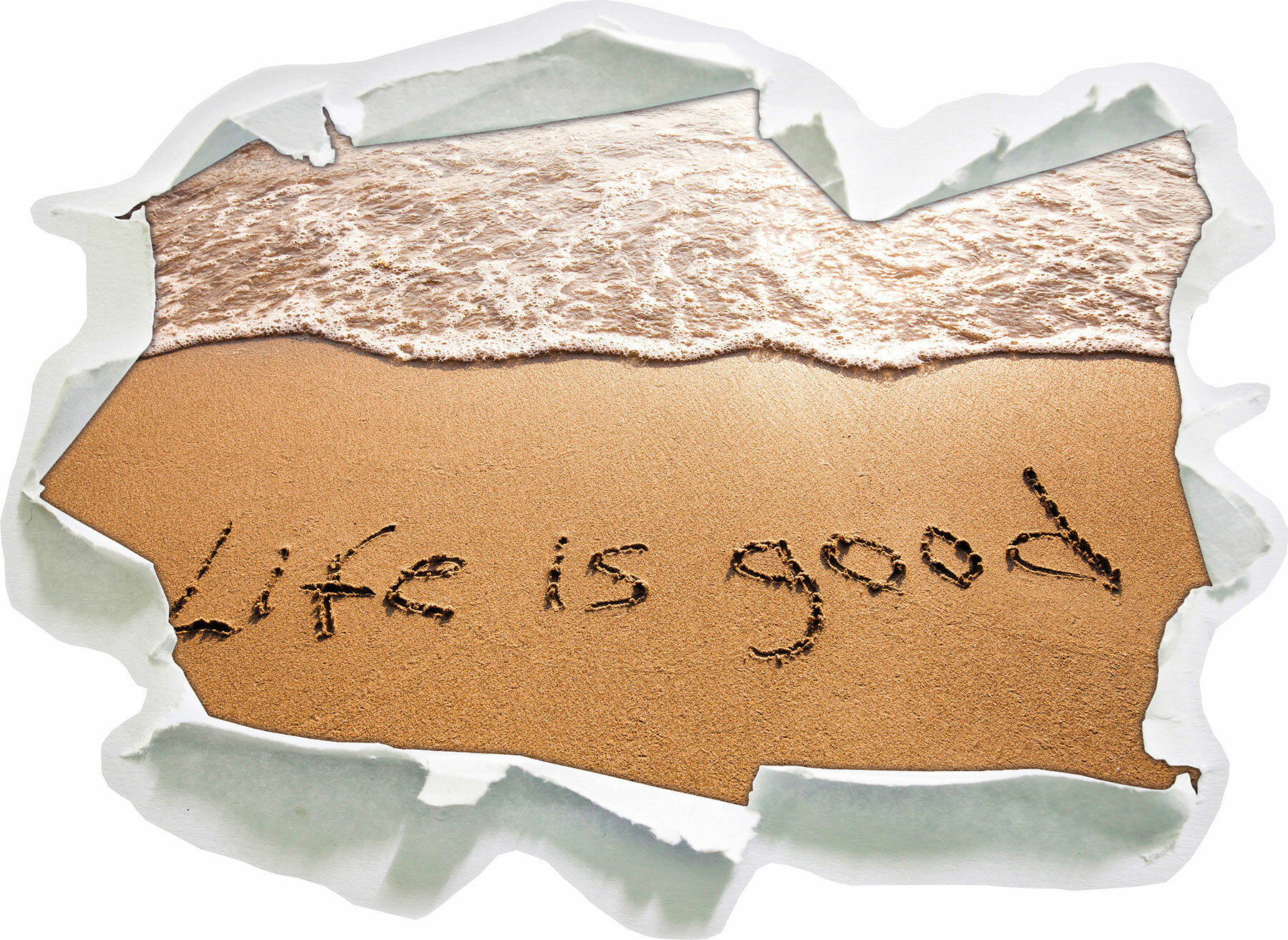 Writing In The Sand Life Is Good Wall Sticker