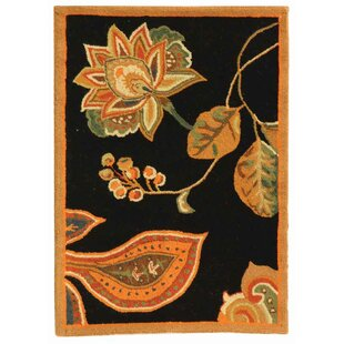 Check Prices Kinchen Hand-Hooked Wool Black/Orange Area Rug ByAugust Grove