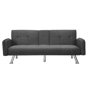Light Gray Convertible Futon Sofa Bed Linen Futon Couch Recliner Lounge with Armrest//2 Cup Holders//Metal Legs for Living Room Bedroom