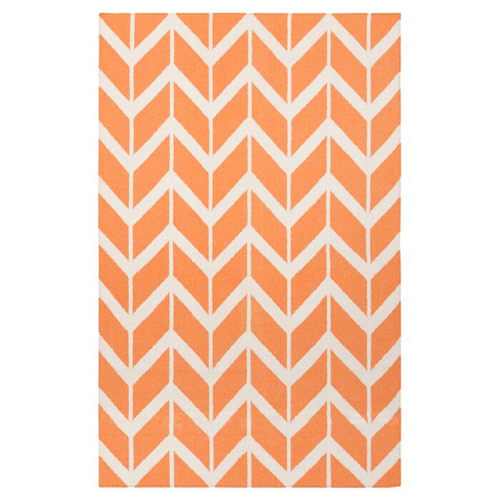 Winston Porter Larksville Herringbone Handmade Flatweave Wool Bright Orange Cream Area Rug Reviews