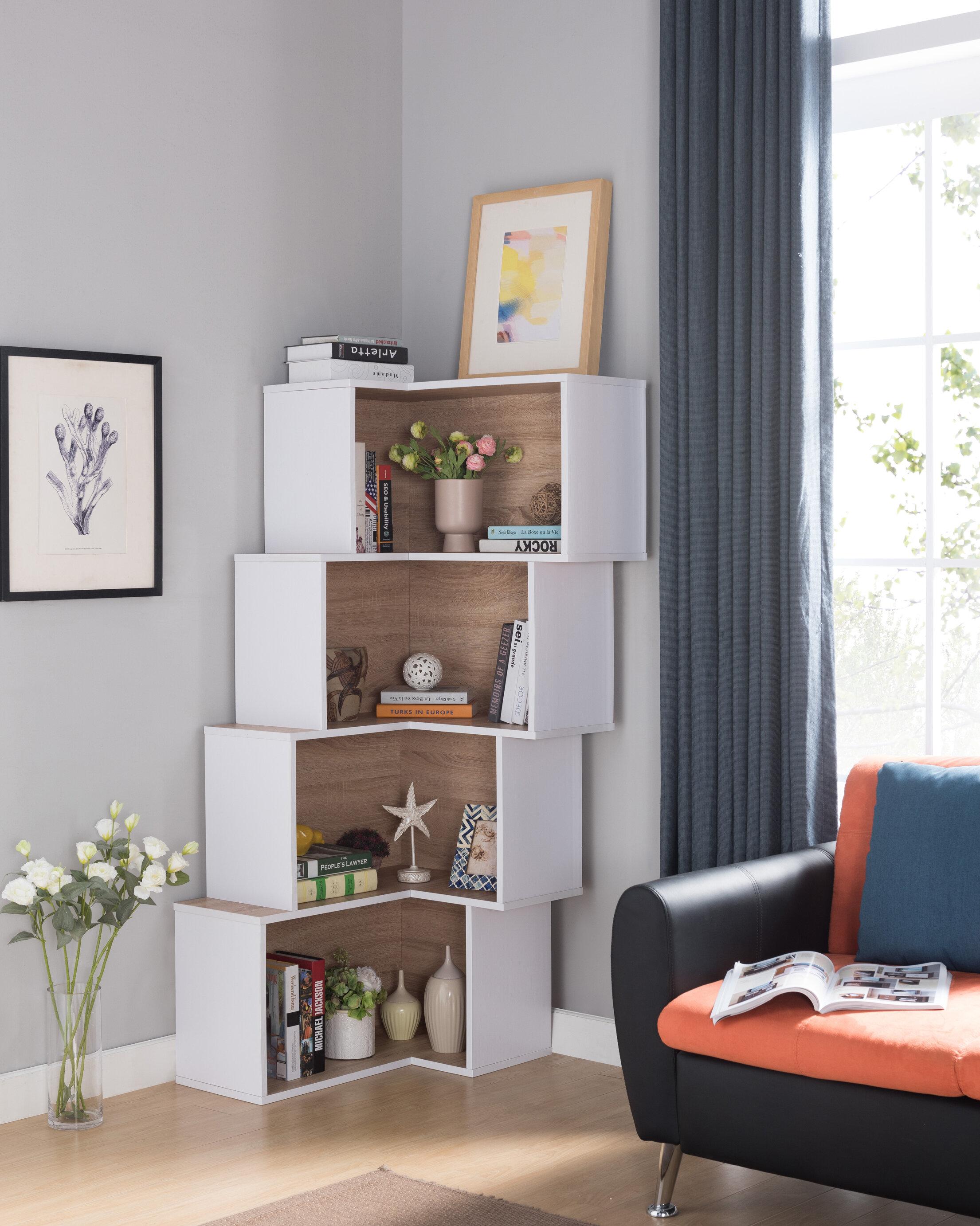 Ivy Bronx Farragutt Modern Corner Bookcase Reviews Wayfair