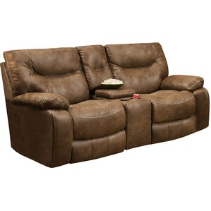 Simmons Upholstery El Capitan Double Motion Console Reclining Sofa by Loon Peak