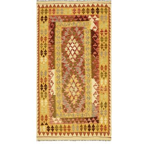 Affordable One-of-a-Kind Doorfield Hand-Knotted 3'6 x 6'6 Wool Yellow Area Rug By Isabelline