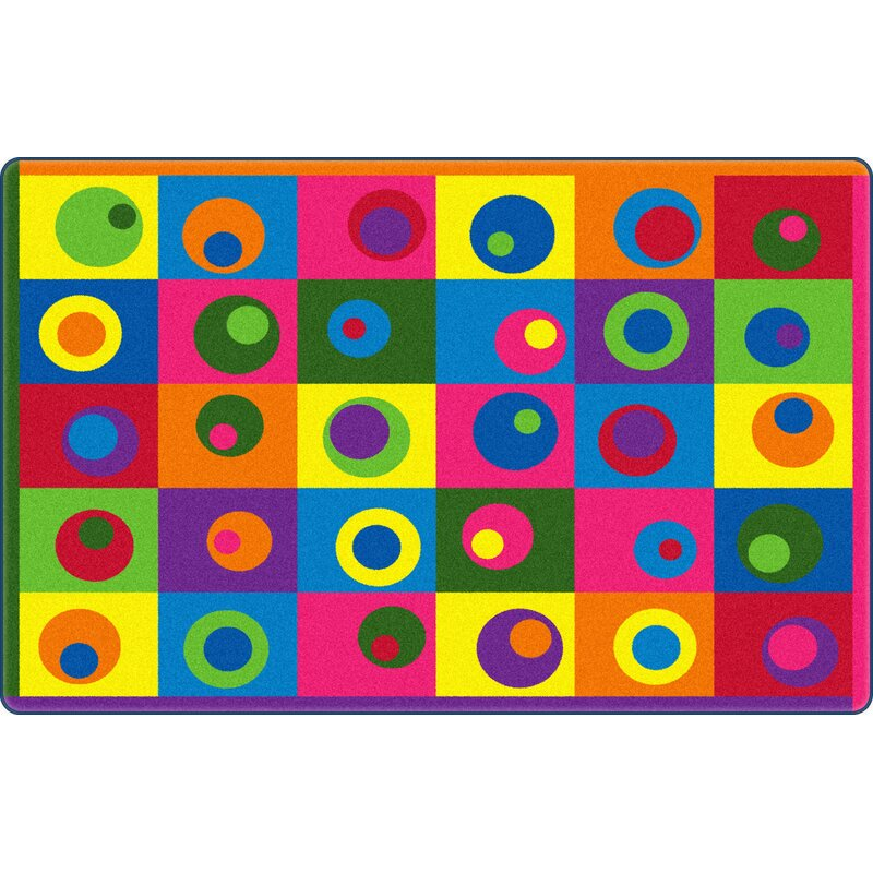 Silly Circles Blue/Yellow Area Rug