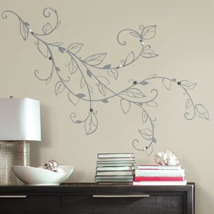 Deco Silver Leaf Giant With Pearls L And Stick Wall Decal