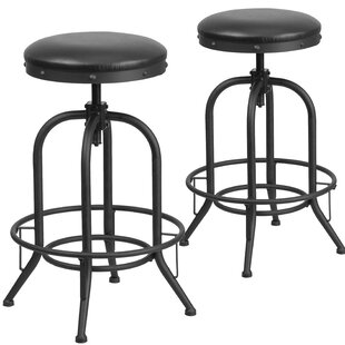 Shun Adjustable Height Swivel Bar Stool (Set of 2) 17 Stories