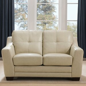 Tiffaney Leather Loveseat by Latitude ..