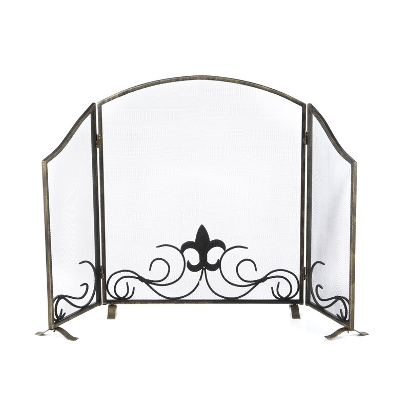 black iron fireplace screen. Fleur De Lis 3 Panel Iron Fireplace Screen SPI Home  Reviews Wayfair