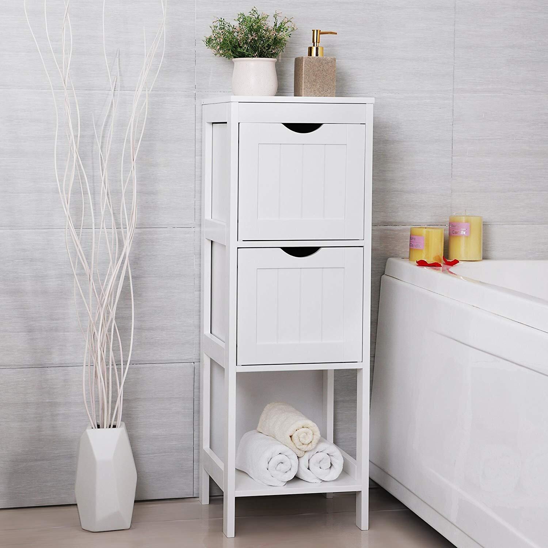 Rosecliff Heights White Floor Cabinet Multifunctional Bathroom Storage Organizer Rack Stand 2 Drawers Wayfair Ca