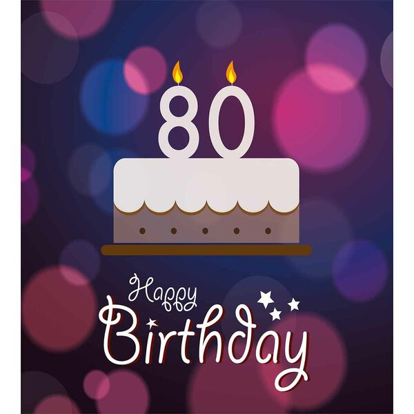 Ambesonne 80th Birthday Decorations Abstract Backdrop With Party Cake And Candles Duvet Cover Set