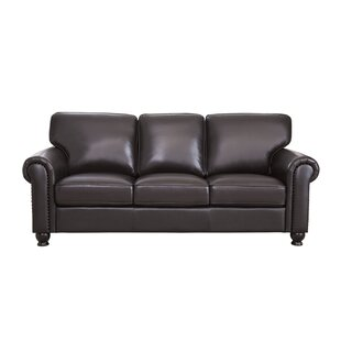 Bella Vista Leather Sofa by Three Posts