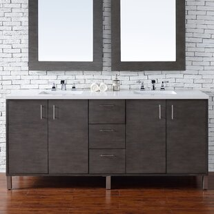 Cordie 72 Double Silver Oak Wood Base Bathroom Vanity Set by Orren Ellis